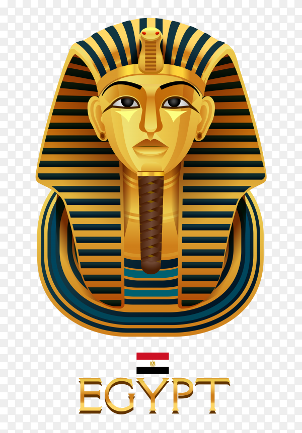 Golden pharaohs mask icon flat isolated on transparent background PNG