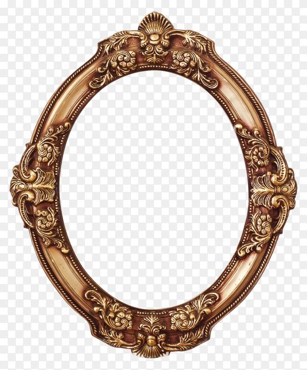 Golden round frame on transparent background PNG