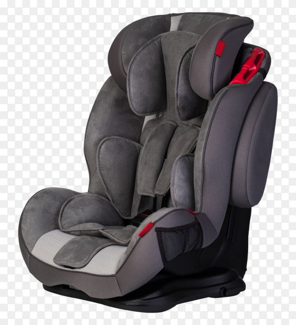Gray baby car seat isolated on transparent background PNG