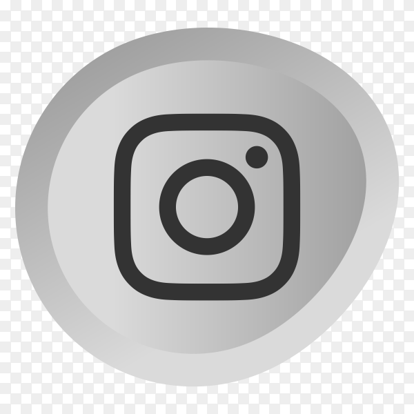 Gray intsagram icon on transparent background PNG