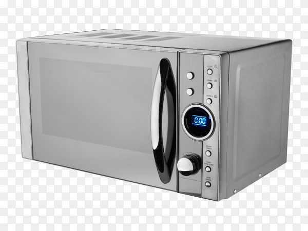 Gray microwave oven on transparent background PNG