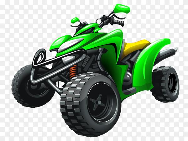 Green quad bike on transparent background PNG