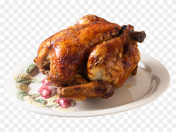 Grilled whole chicken in white ceramic plate on transparent background PNG