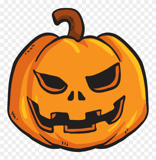 Halloween angry pumpkin on transparent background PNG