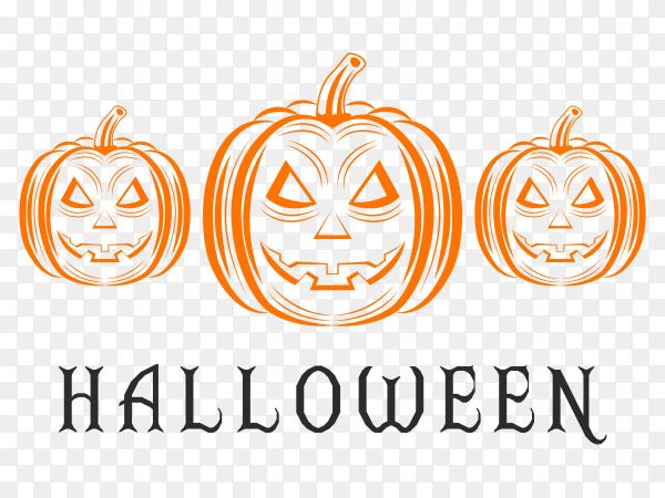 Halloween lettering illustration on transparent background PNG