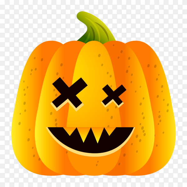 Halloween october pumpkin set with face emotion on transparent PNG