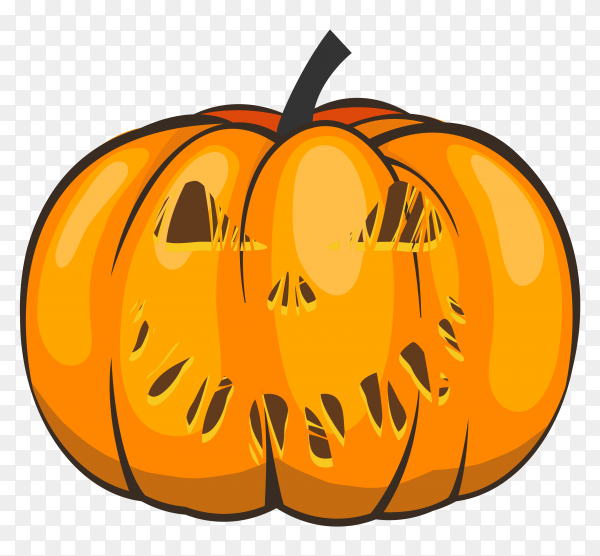 Halloween pumpkin cartoon style on transparent background PNG