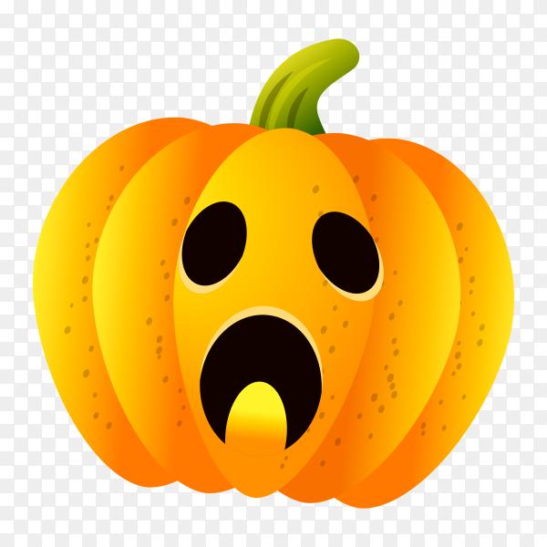 Halloween pumpkin set with face emotion on transparent PNG
