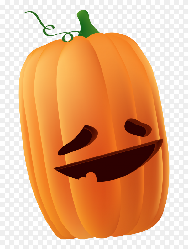 Halloween pumpkin with funny face on transparent PNG