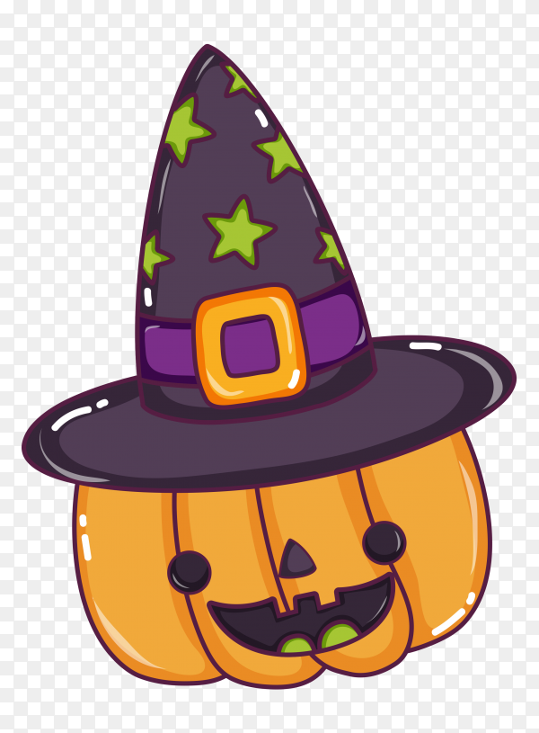 Halloween pumpkin with hat on transparent background PNG