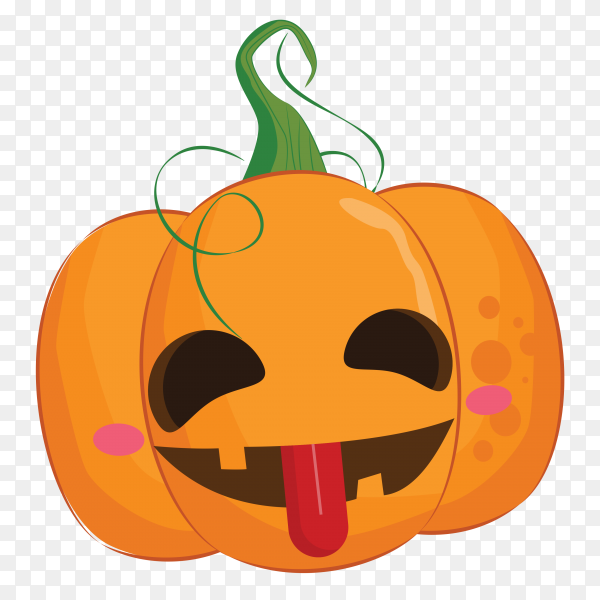 Halloween pumpkin with toungh on transparent background PNG