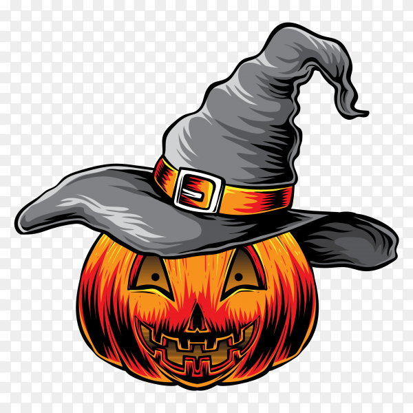 Halloween pumpkin with witches hat on transparent background PNG