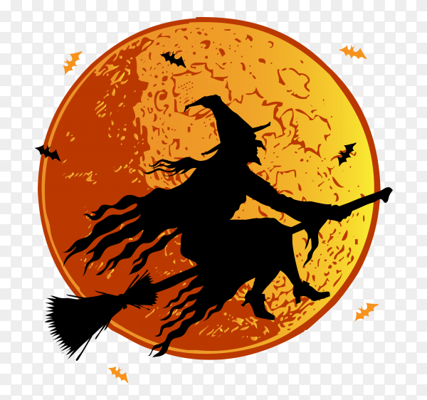 Halloween witch on transparent background PNG
