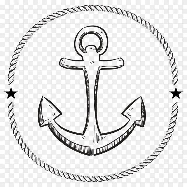 Hand drawing anchor on transparent background PNG