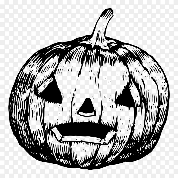 Hand drawing halloween pumpkin on transparent background PNG