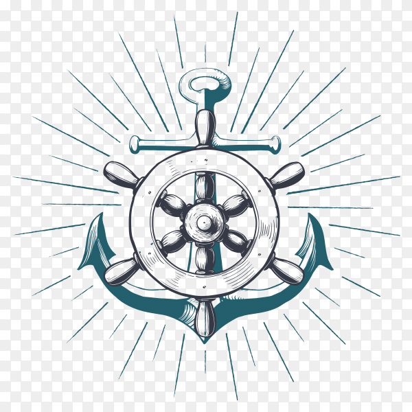 Hand drawn Anchor with navigation wheel illustration on transparent background PNG