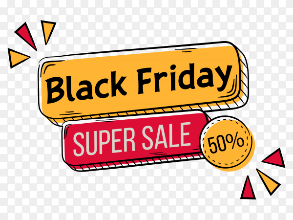 Hand drawn black friday lettering on transparent background PNG