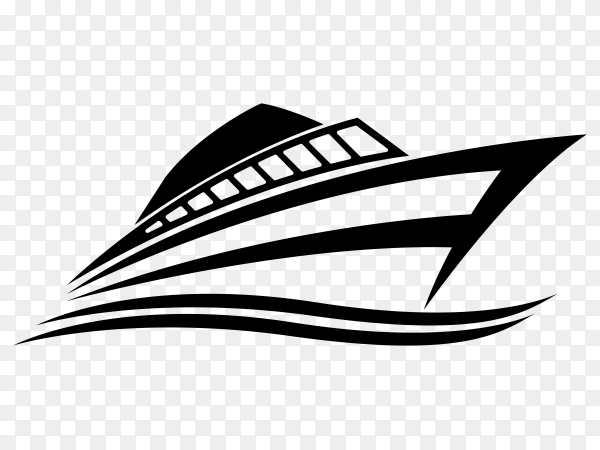 Hand drawn cruise ship on transparent background PNG