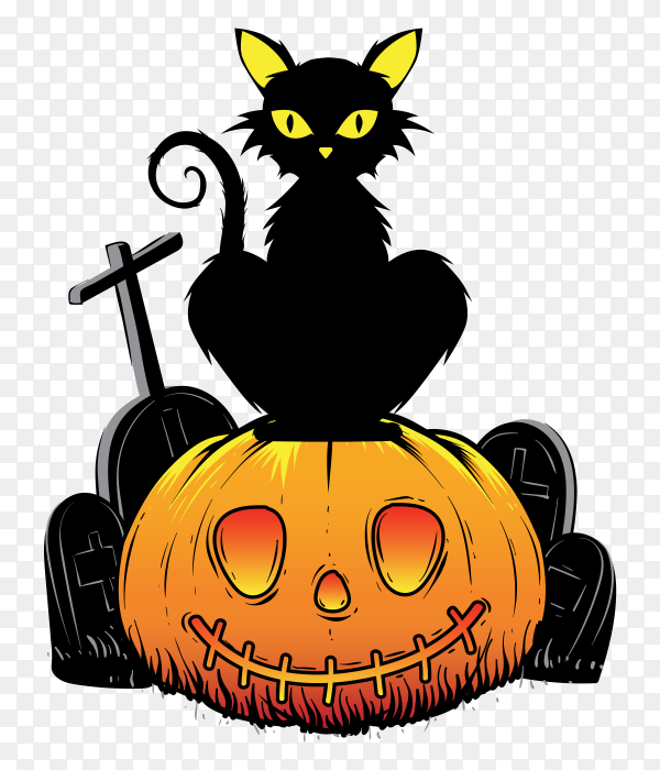 Hand drawn design halloween Pumpkin cat on transparent background PNG