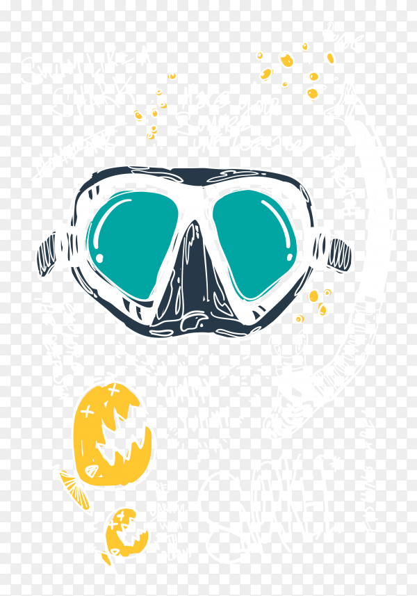 Hand drawn diving mask on transparent background PNG