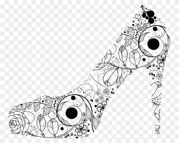 Hand drawn fashion high heels shoes on transparent background PNG