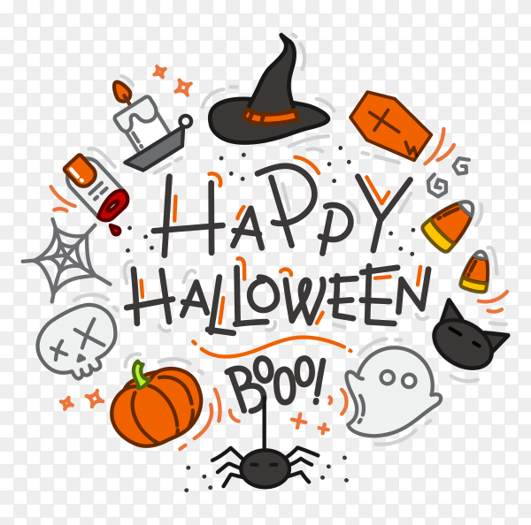 Hand drawn halloween frame on transparent background PNG