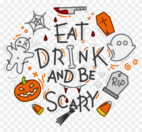 Hand drawn halloween poster design on transparent background PNG