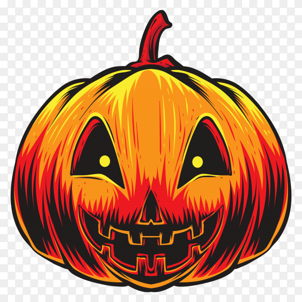 Hand drawn halloween pumpkin on transparent PNG