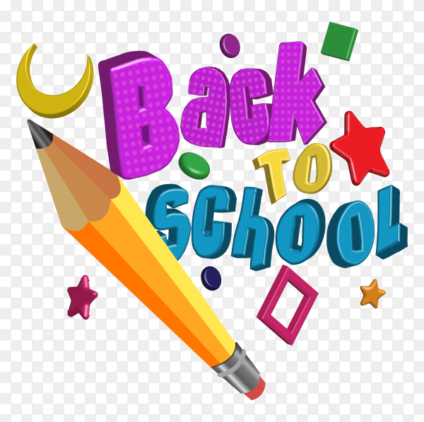 Hand drawn lettering back to school with pencil  on transparent background PNG