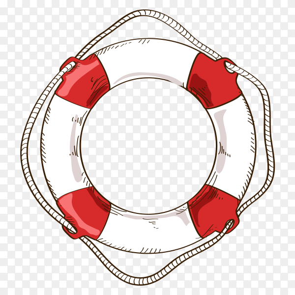 Hand drawn lifebuoy isolated on transparent background PNG