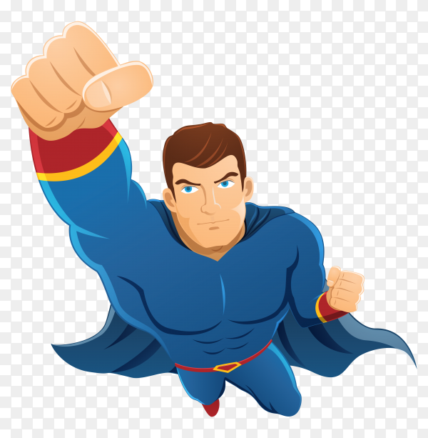 Hand drawn superhero character on transparent background PNG