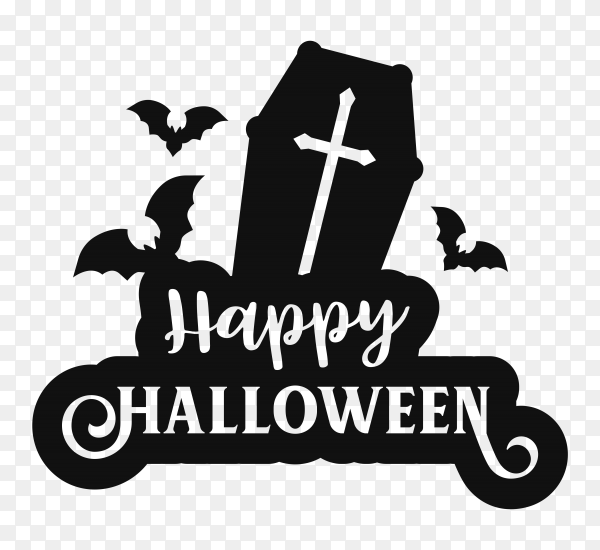 Happy Halloween poster on transparent PNG