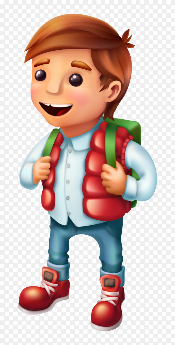 Happy boy back to school on transparent background PNG