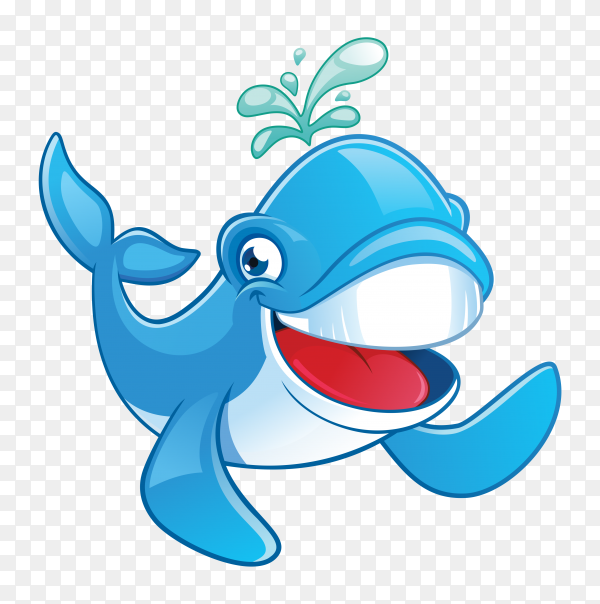 Happy cartoon dolphin on transparent background PNG