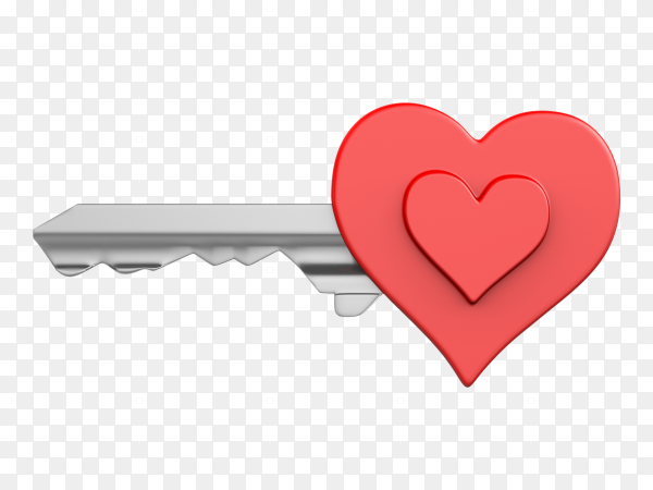 Heart key isolated on transparent background PNG