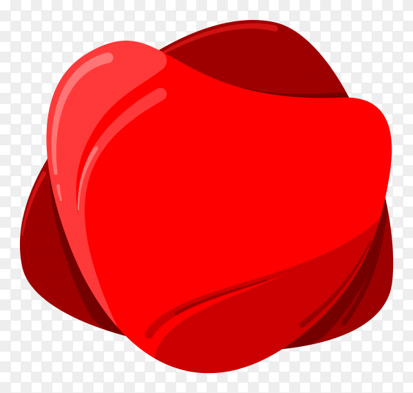 Illustration of banner with red heart shaped on transparent background PNG