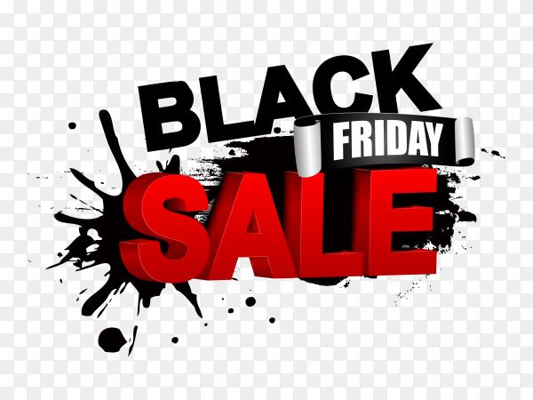 Illustration of black friday sale banner on transparent PNG