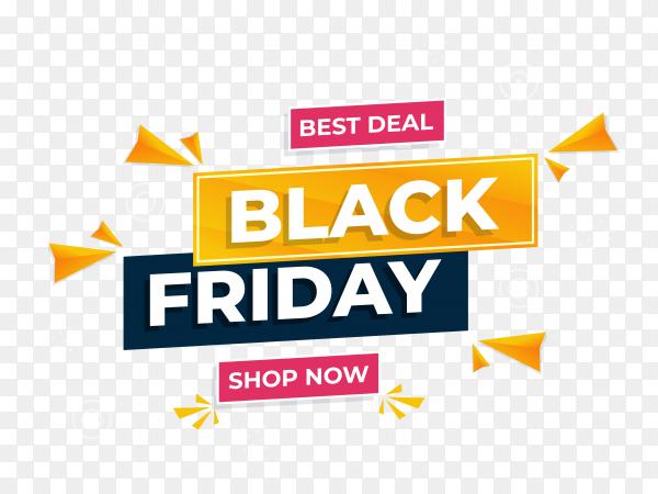 Illustration of black friday sale banner on transparent background PNG