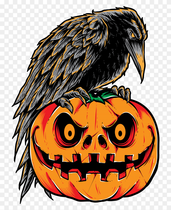 Illustration of halloween crow and pumpkin on transparent PNG