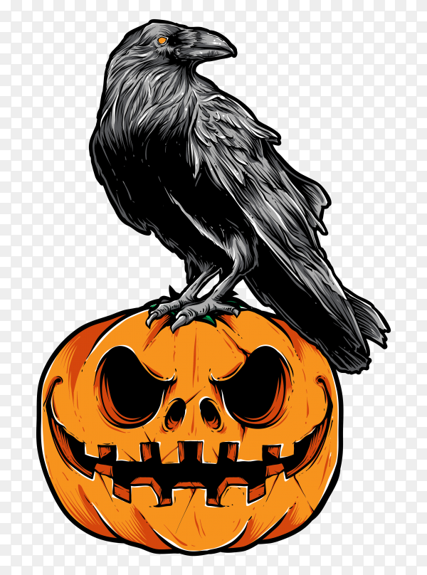 Illustration of halloween crow and pumpkin on transparent background PNG