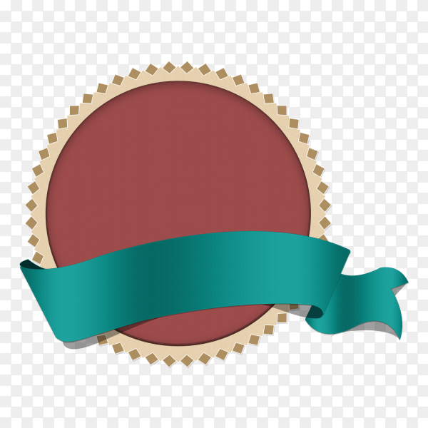 Illustration of round banner with ribbon on transparent background PNG