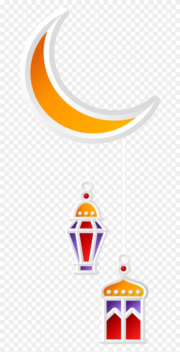 Islamic greeting design ramadan kareem with crescent moon and lantern on transparent background PNG