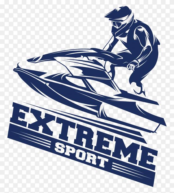 Jet ski sports logo on transparent background PNG