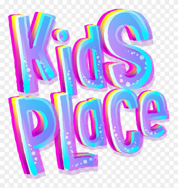 Kids place lettering on transparent background PNG