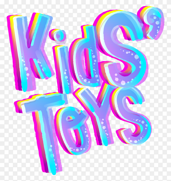 Kids toys Lettering on transparent background PNG