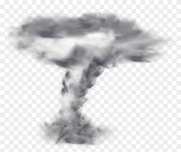 Large tornado isolated graphic on transparent background PNG
