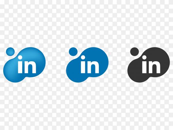 Linkedin icons on transparent  background PNG