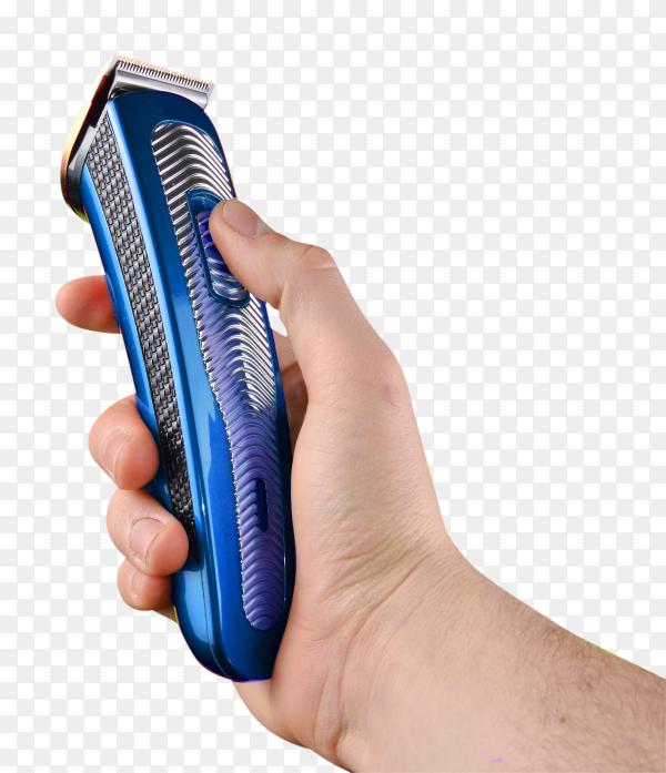 Man holding blue  electric shaver on transparent background PNG