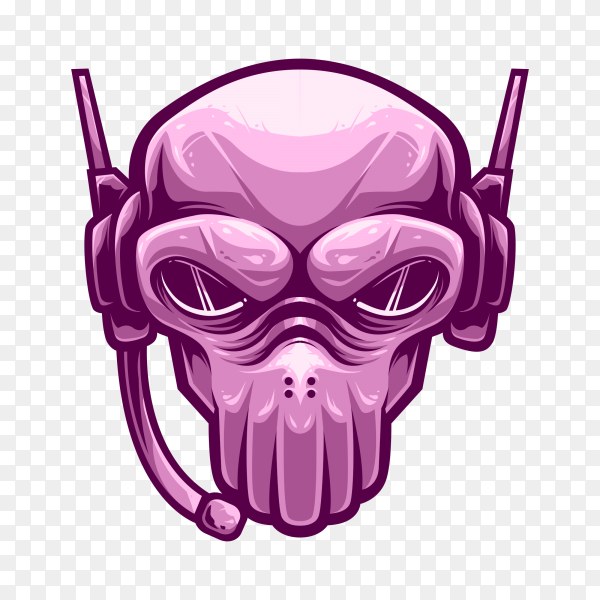 Mascot Logo Pinky Skull on transparent background PNG
