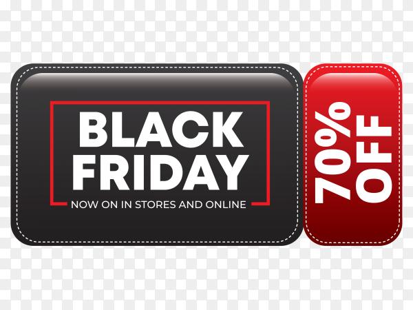 Modern black friday sale banner on transparent background PNG